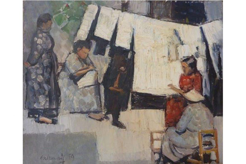 Tertúlia de vesines a Sa Carrossa (Oli sobre llenç. Carloandrés. Eivissa. 1959)