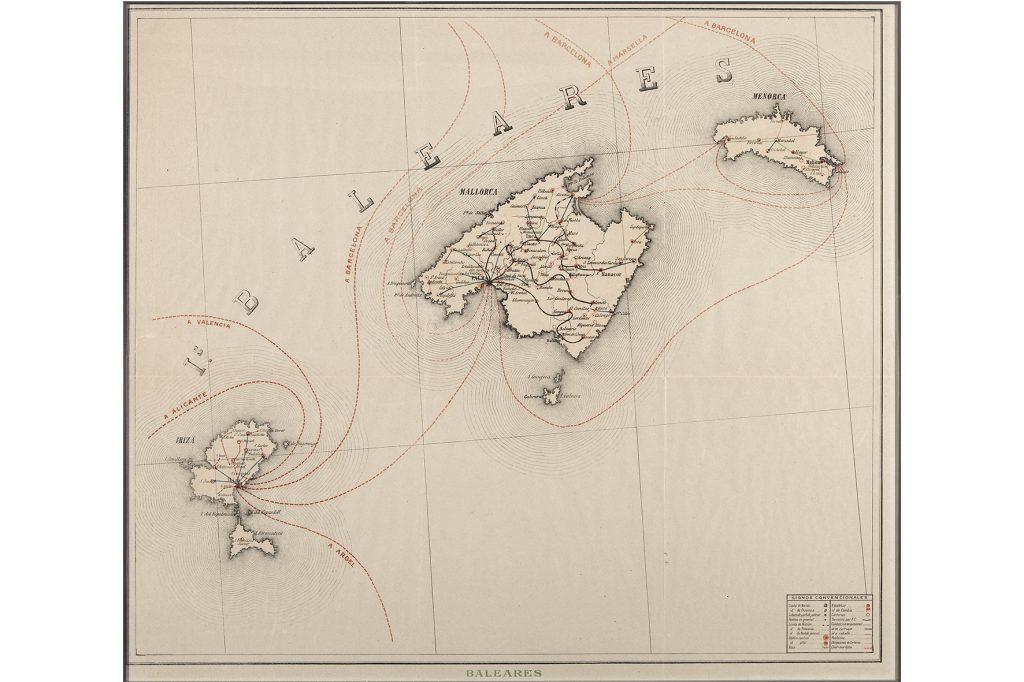 Mapa itinerari dels correus marítims a les Illes